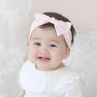 🚚 🌟INSTOCK🌟 Pastel Pink Cotton Linen Knot Headband Newborn Baby Bandana Kids Girl Party Hair Accessories