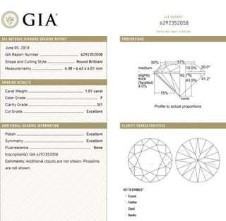GIA 鑽石 1.01 F SI1 3EX N