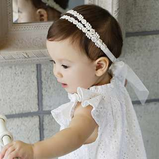 🚚 🌟INSTOCK🌟 Double Floral Crochet Lace with Bow Ribbon Knot Headband Newborn Baby Bandana Kids Girl Party Hair Accessories