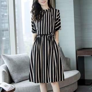 Korean Short Sleeve Slim Stripe Dress