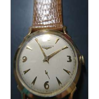 Vintage Longines 14K manual-winding watch with sub-second (古董浪琴14K上鍊小三針金錶)