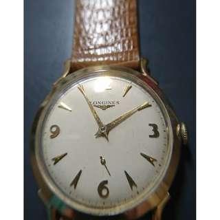 Vintage Longines 14K manual-winding watch with sub-second (古董浪琴14K上鍊小三針金錶)