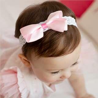🚚 🌟INSTOCK🌟 Sweet Pink Bow Ribbon Headband Newborn Baby Lace Bandana Kids Girl Party Hair Accessories