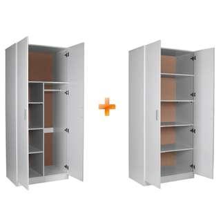 2 Door Combo Wardrobe+ 2 Door Pantry, BLACK/WHITE