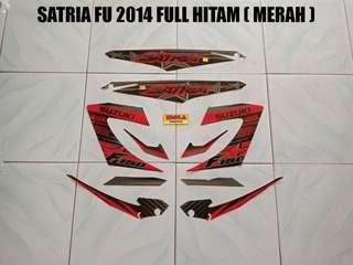 Striping Satria FU 2014 Full Hitam ( Merah )
