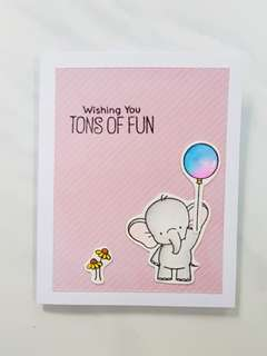 Handmade Elephant Well Wishes/Graduation Cardstock