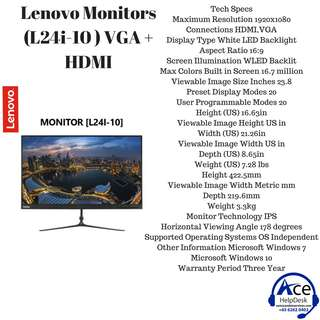 Lenovo Monitors (L24i-10 ) VGA + HDMI