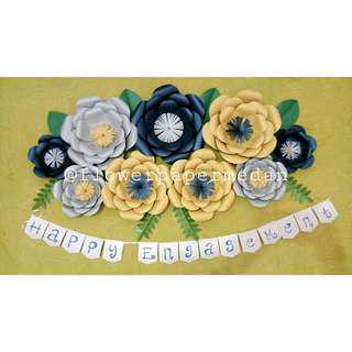 paper flower navy gold silver