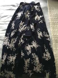 Floral maxi-wrap skirt