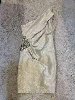 Dress one shoulder dress weddingan/kondangan silver with gemstones