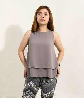 Brownish Grey Sleeveless with Layered Ruffles Top