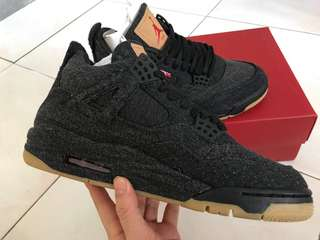 Levi's x Air Jordan Retro 4 Black Denim Sneakers