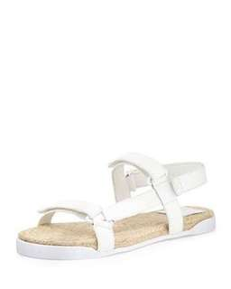 Tory Burch White Leather Bumper Espadrille Sandals
