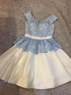 Custom premium dress lace baby blue&cream/sabrina dress