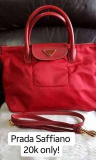 Prada Saffiano Tessuto red for 20k