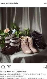 日本 Axes Femme 碎花/ Lace / 格仔水鞋  折り返しレインブーツ