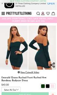 Emerald ruched dress