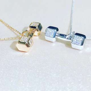 18K gold diamond dumb bell pendant 18K金鑽石啞鈴頸鍊