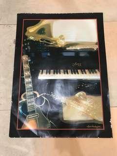 Lukisan print Jazz (gitar, piano, harp, flute) antik 1982