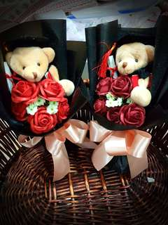 Handmade roses with graduation bear
