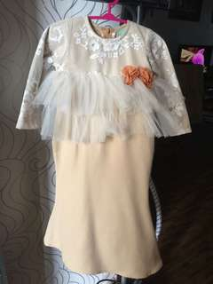 Cipta.my Avalie dress kurung for baby kurung for raya soft nude kepok2 elegant luxury