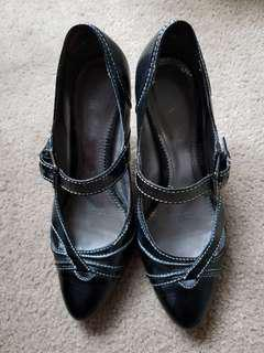 RMK black patent leather heels
