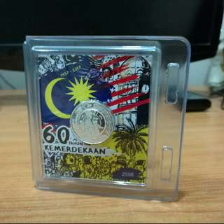 60 TAHUN KEMERDEKAAN 999 silver coin ( world first coin over coin !)