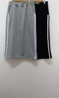 🚚 細絨側白邊2條織帶中長裙