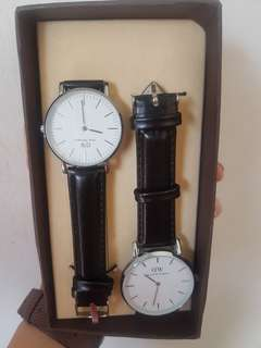 Daniel Wellington His and Hers Black Watch with Silver Frame