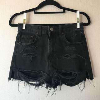 TOPSHOP Moto Mom Black Distressed Denim Shorts