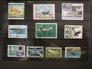 Assorted stamps with Airplane