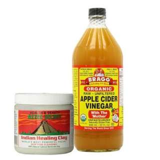 AZTEC CLAY MASK & BRAGG APPLE CIDER VINEGAR - SHARE IN A JAR