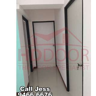 HDDoor the laminate solid wooden bedroom door with lever handle lock / stopper install