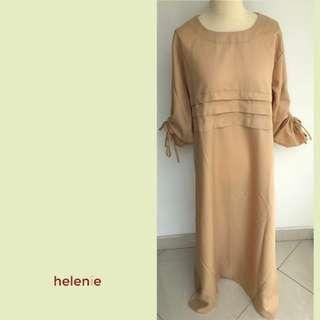 SALE - Dress edisi lebaran - lengan panjang mono color (Cream) - Helenie