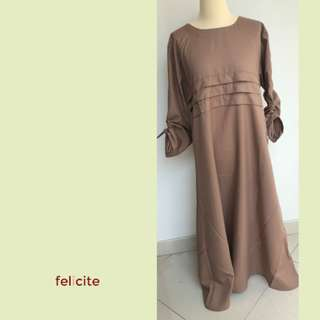 Dress - lengan panjang mono color (Coklat) - Felicite