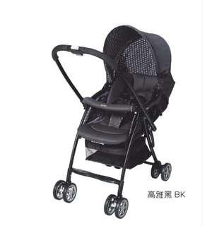 日本 Aprica 超輕量雙向平躺型嬰幼兒手推車karoon629高雅黑