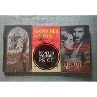 A Separate Peace,  Catcher in the Rye,  Jude the Obscure
