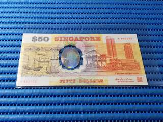 1990 Singapore 25th Years of Independence $50 Commemorative Banknote with Folder A 402172