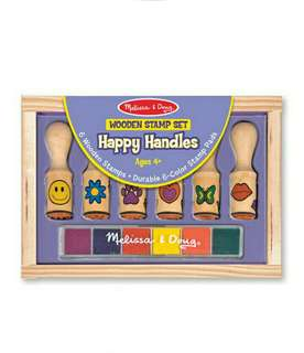 Brand New Melissa & Doug Wooden Stamp Set - Happy Handles