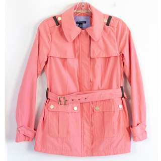 Tommy Hilfiger women's peach pink spring jacket short trench coat belted Size XS