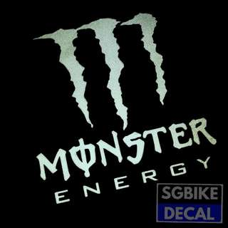 White Monster Energy Reflective