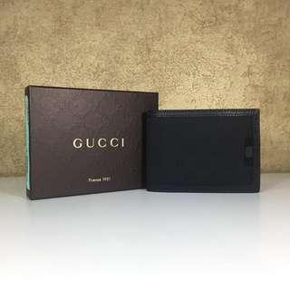 GUCCI 278596 WALLET GUCCISSIMA LOGO CANVAS LEATHER TRIM WITH WEB BIFOLD