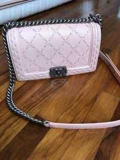 Chanel boy peach caviar leather