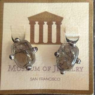 勿壓價-全新-天然碧茜石、純銀耳環、FROM MUSEUM of  JEWELRY SAN FRANCISCO