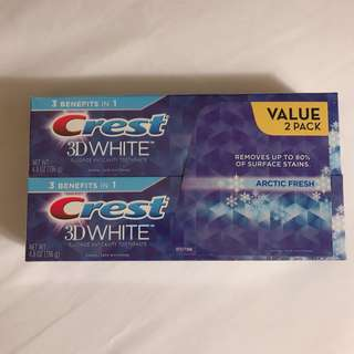 Crest twin packet 3D whitening toothpaste
