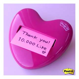 "Post-it® Pop-up Notes Dispenser for 3"" x 3"" Notes, Pink, Heart Shape"