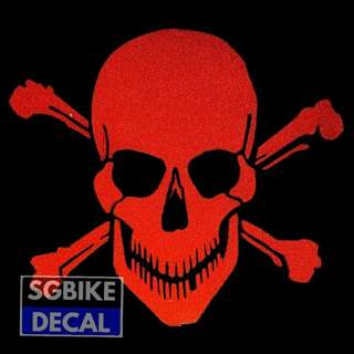 Red Reflective Skull decal