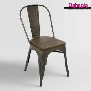 ESPRESSO METAL CHAIR WITH WOODEN SEAT
