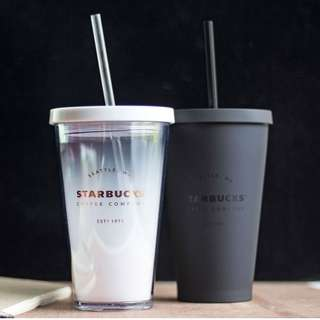 [Pre-Order] Starbucks Matte Plastic Flat Cold Cup With Straw [Black / White]