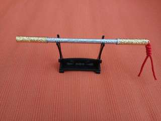 18cm Monkey God Ruyi Jin Gu Pang Protection Rod (Silver Gold combo Colour) with Rod Stand